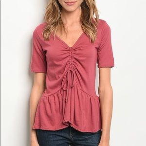 Berry Colored Cinched Front Tunic